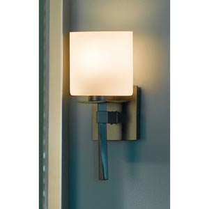 Beacon Hall Burnished Steel One-Light Sconce with Smooth Opal Glass
