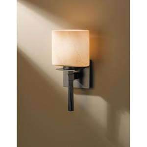 Beacon Hall Burnished Steel One-Light Sconce with Stone Glass