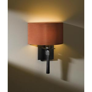Beacon Hall Dark Smoke One-Light Sconce with Terra Micro-Suede Half Drum Shade