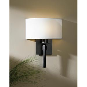 Beacon Hall Dark Smoke One-Light Sconce with Natural Anna Half Drum Shade