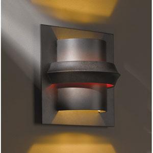 Twilight Dark Smoke One Light Wall Sconce with Red Glass