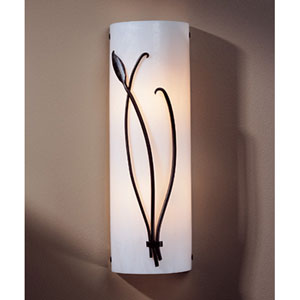 Leaf Dark Smoke Two Light Wall Sconce with White Art Glass