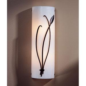 Leaf Dark Smoke Two Light 17-Inch Wall Sconce with White Art Glass Right Facing