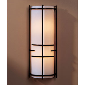Banded Bronze Two Light Wall Sconce with White Art Glass