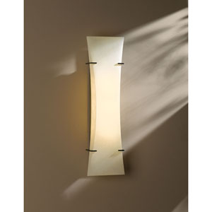 Bento Dark Smoke Three Light Fluorescent Wall Sconce with Spun Frost Shade