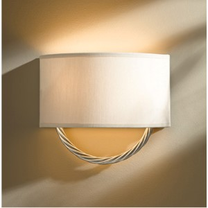 Cavo Vintage Platinum Two-Light Wall Sconce with Flax Shade