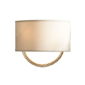 Cavo Soft Gold Two-Light Bath Sconce with Flax Shade