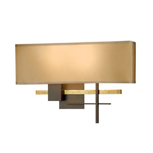 Cosmo Bronze Two-Light Wall Sconce with Natural Anna Shade