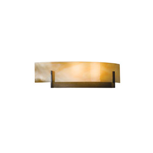 Axis Burnished Steel 17.5-Inch Two-Light Bath Sconce with Amber Swirl Glass