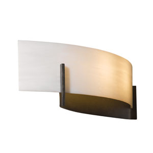 Axis Burnished Steel 17.5-Inch Two-Light Bath Sconce with White Art Glass