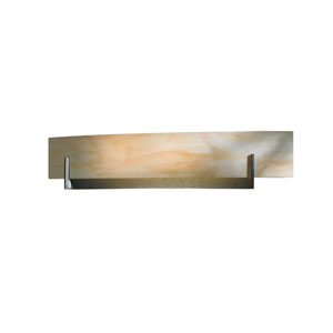 Axis Burnished Steel 28-Inch Two-Light Bath Sconce with Amber Swirl Glass