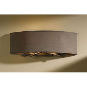Brindille Burnished Steel Two Light Wall Sconce with Eclipse Micro-Suede Shade