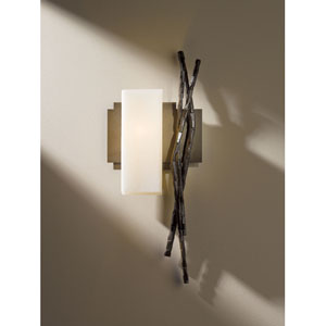 Brindille Bronze One Light Wall Sconce with Pearl Glass Left Facing