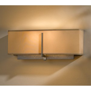 Exos Dark Smoke Two-Light Wall Sconce with Doeskin Suede Shade