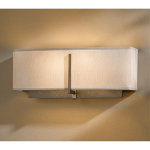 Exos Dark Smoke Two-Light Wall Sconce with Flax Shade