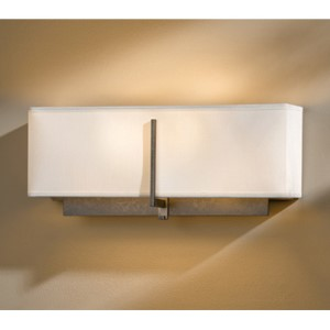 Exos Dark Smoke Two-Light Wall Sconce with Natural Anna Shade