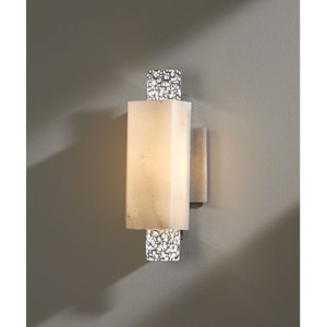 Oceanus Vintage Platinum One-Light 4.Wall Sconce with Stone Glass