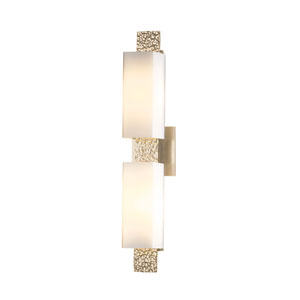 Oceanus Soft Gold Two-Light Bath Sconce with Pearl Glass