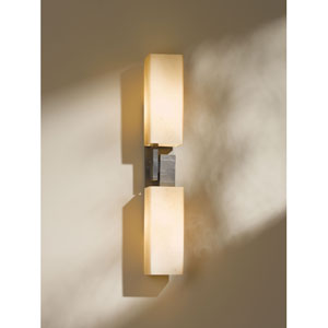 Ondrian Dark Smoke One Light Wall Sconce with Stone Glass