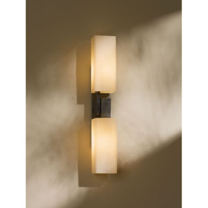 Ondrian Dark Smoke One Light Wall Sconce with Pearl Glass