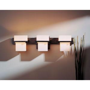 Kakomi Dark Smoke Three-Light Wall Sconce with Opal Glass