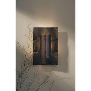 Mosaic Dark Smoke One Light Wall Sconce with Red, Blue, Ivory Glass Pack