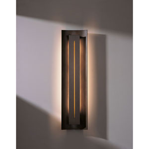 Gallery Bronze One Light Fluorescent Wall Sconce with Amber Glass