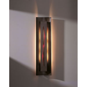 Gallery Bronze Three Light Wall Sconce with Red Glass