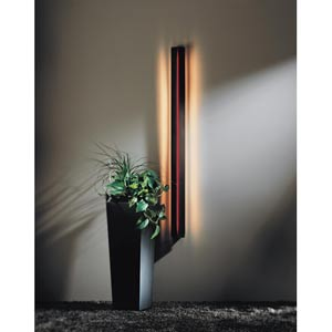Gallery Dark Smoke Fluorescent One-Light Sconce with Red Acrylic