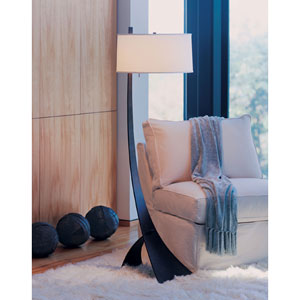 Stasis Bronze One Light Floor Lamp with Natural Anna Shade