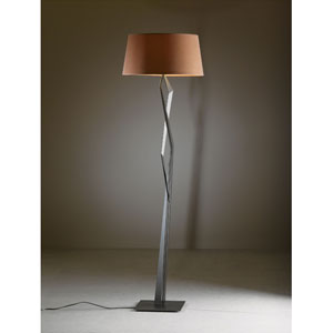 Facet Dark Smoke One Light Floor Lamp with Terra Micro-Suede Shade