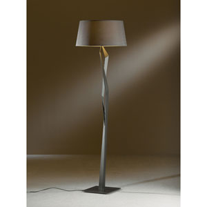 Facet Dark Smoke One Light Floor Lamp with Eclipse Micro-Suede Shade