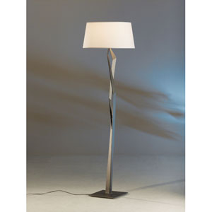 Facet Dark Smoke One Light Floor Lamp with Natural Anna Shade