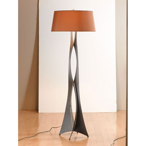 Moreau Dark Smoke One Light Floor Lamp with Terra Micro-Suede Shade