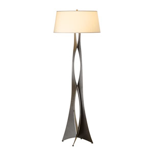 Moreau Dark Smoke 22-Inch One-Light Floor Lamp with Flax Shade