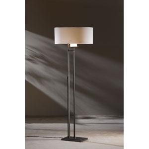 Rook Dark Smoke One Light Floor Lamp with Natural Anna Shade