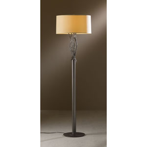 Brindille Dark Smoke One Light Floor Lamp with Doeskin Micro-Suede Shade