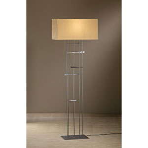 Cavaletti Burnished Steel One Light Floor Lamp with Doeskin Micro-Suede Shade