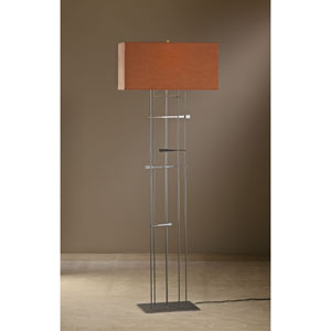 Cavaletti Burnished Steel One Light Floor Lamp with Terra Micro-Suede Shade