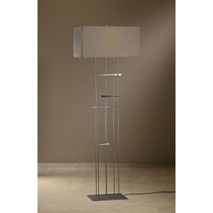 Cavaletti Burnished Steel One Light Floor Lamp with Eclipse Micro-Suede Shade