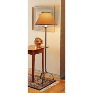 Simple Sweep Natural Iron One Light Floor Lamp with Doeskin Micro-Suede Shade