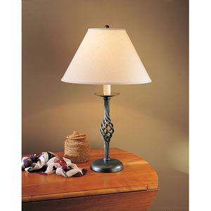 Twist Basket Natural Iron One Light Table Lamp with Natural Linen Shade