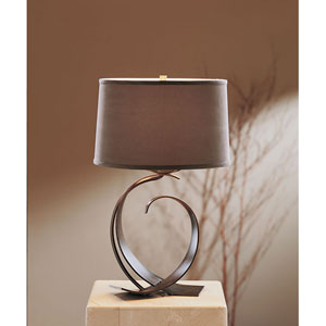 Fullered Dark Smoke One Light Table Lamp with Eclipse Micro-Suede Shade
