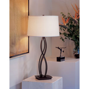 Almost Infinity Bronze One Light Table Lamp with Natural Anna Shade