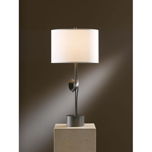 Gallery Dark Smoke 24.3-Inch One Light Table Lamp with Natural Anna Shade