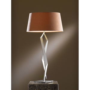 Facet Burnished Steel One Light Table Lamp with Terra Micro-Suede Shade