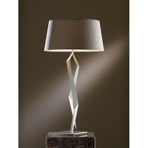Facet One Light Table Lamp Burnished Steel with Eclipse Micro-Suede Shade