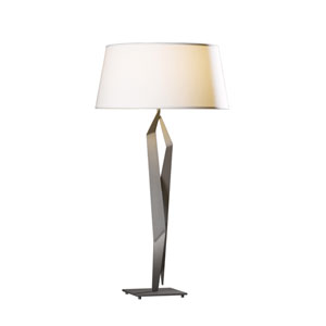 Facet Burnished Steel 18-Inch One-Light Table Lamp with Flax Shade