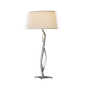 Facet Burnished Steel 18-Inch One-Light Table Lamp with Natural Anna Shade