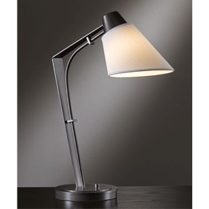 Reach Dark Smoke One-Light Desk Lamp with Natural Anna Shade